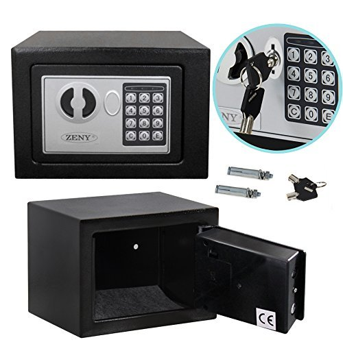 Smartxchoices Black Digital Electronic Security Box Lock Keypad Safe Box for Jewelry Gun Cash Valuable (E17)
