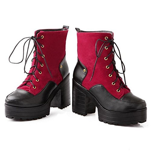 COOLCEPT Women Fashion High Heel Platform Lace Up Ankle Martin Boots Red jfzRMMI02F