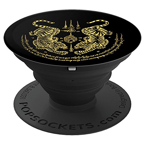 Muay Thai Twin Tigers Sak Yant - PopSockets Grip and Stand for Phones and Tablets