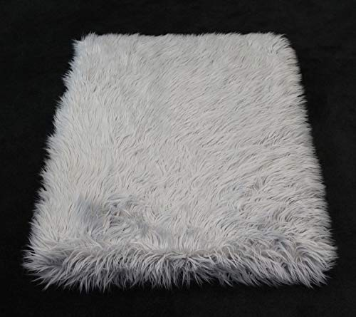 PupRug Faux Fur Memory Foam Orthopedic Dog Bed (Giant - 60'' L x 35'' W, Gray Rectangle) by Treat A Dog (Image #4)