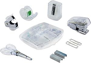 LD Clear Mini Office Supply Kit – Portable Case with Scissors, Paper Clips, Tape Dispenser, Pencil Sharpener, Stapler & Staple Remover