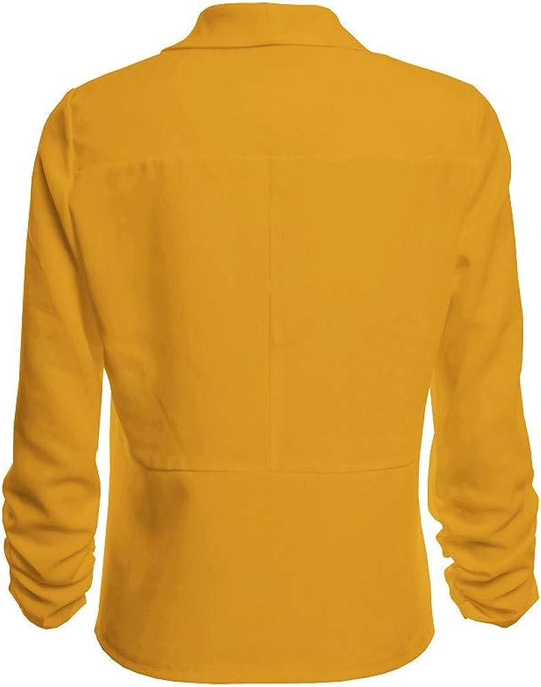 Blazer Officier Femme,Femmes Manches 3//4 Blazer Front Ouvert Court Cardigan Costume Veste Bureau De Travail Manteau,Veste Travail Veste Femme Chic
