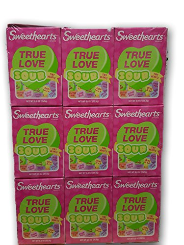 0.9 Ounce Boxes (Sour Sweethearts Tiny Conversation Valentines Day Hearts 12 .9oz Boxs)