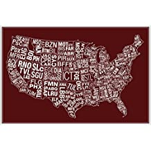 USA Airports Abbreviation Code Red Poster 12x18