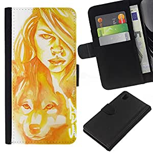 ZCell / Sony Xperia Z1 L39 / Woman Wolf Dog Portrait Painting Art / Caso Shell Armor Funda Case Cover Wallet / Mujer lobo perro retrato pintura D