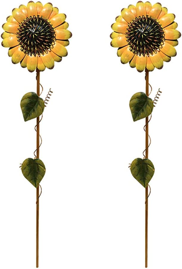 Grace Home Set of 2 Vintage Metal Sunflower Garden Stake Sunflower Ornament for Patio Lawn Yard Decoration (21 Inches)