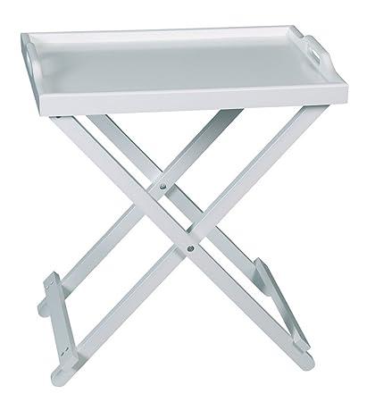 Tavolino Vassoio Pieghevole.Aspect Tavolino Vassoio Pieghevole E Rimovibile In Legno Bianco 5 5 X 35 X 63 6 Cm