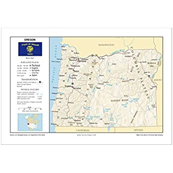 Amazon.com : Oregon State Wall Map Material: Laminated : Map Of ...