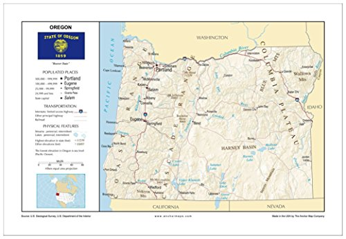 13x19 Oregon General Reference Wall Map - Anchor Maps USA Foundational Series - Cities, Roads, Physical Features, and Topography [ROLLED] (Oregon Wall Map)