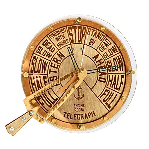 Engine order telegraph with moving handle unique wooden wall clock, personalized gift, wall art, nautical decor, marine decoration ()