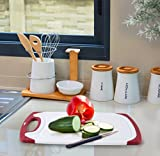Chef Grids Durable Plastic Cutting Board Set 3 Piece Chopping Board Thick Plastic for Vegetable Meat or Cheese with Non-Slip Feet and Handles Deep Drip Juice Groove | Dishwasher Safe