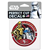 WinCraft San Francisco 49ers Official NFL 4 inch x 4 inch Star Wars R2-D2 and C-3PO Die Cut Car Decal by 402769