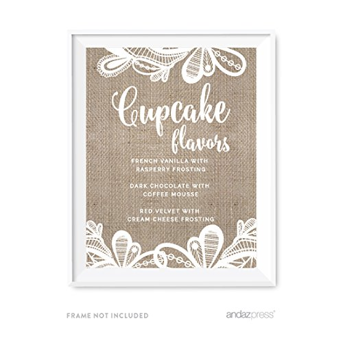 Andaz Press Burlap Lace Print Wedding Collection, Personalized Party Signs, Cupcake Flavors Sign, 8.5x11-inch, 1-Pack, Custom Made with Your Flavors