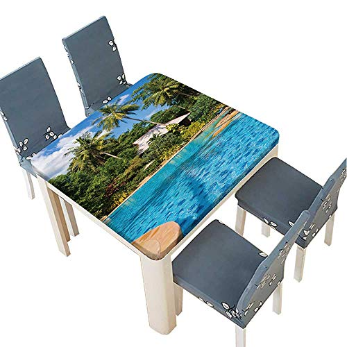 (PINAFORE Jacquard Polyester Fabric Tablecloth Swimming Pool in spa Resort Thailand Summer & Outdoor Picnics 33.5 x 33.5 INCH (Elastic)