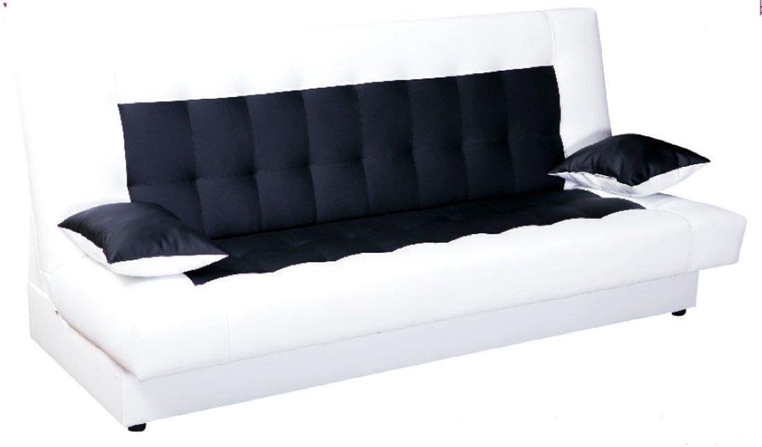 Schlafcouch mit bettkasten weiß  Schlafsofa Funktionssofa Sofa Bett incl. Kissen weiss schwarz mit ...