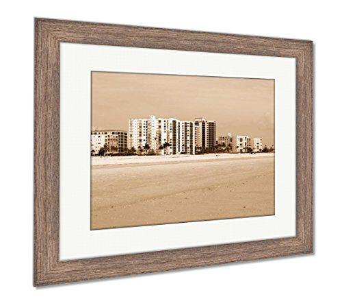 Ashley Framed Prints Vacation Rentals in Florida, Wall Art Home Decoration, Sepia, 30x35 (Frame Size), Rustic Barn Wood Frame, AG6142360