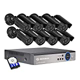 DEFEWAY 8 Channel Security Cameras System, 8CH 1080N Hybrid 5 in 1 DVR Recorder with 1TB Hard Drive, 8pcs Wired IP66 Waterproof Outdoor Bullet Surveillance Cameras with 65ft Night Vision, Remote View