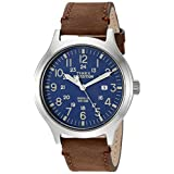 Timex Men's TW4B06400 Expedition Scout 43 Brown/Blue Leather Strap Watch