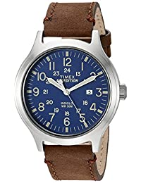Timex Men's 'Expedition' Quartz Brass and Leather Automatic Watch, Color:Brown (Model: TW4B064009J)