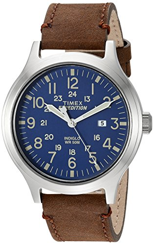 (Timex Men's TW4B06400 Expedition Scout 43 Brown/Blue Leather Strap)