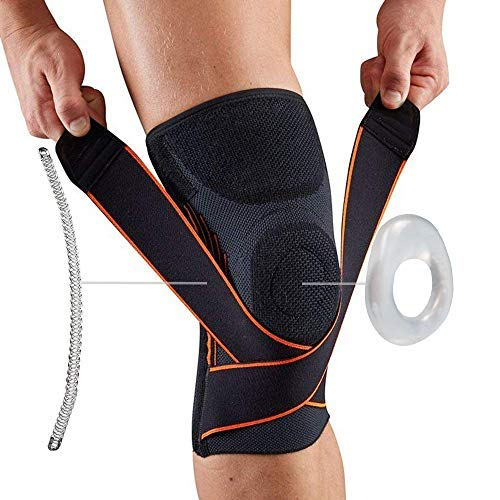 Keklle Knee Compression Brace/Sleeve/Support with Side Stabilizer&Silicone Patella Ring 3D Design for Running/Basketball/Athletic/Meniscus Tear/Pain Relief/Injury Recovery/Mcl/Ace-Nylon,Single Wrap