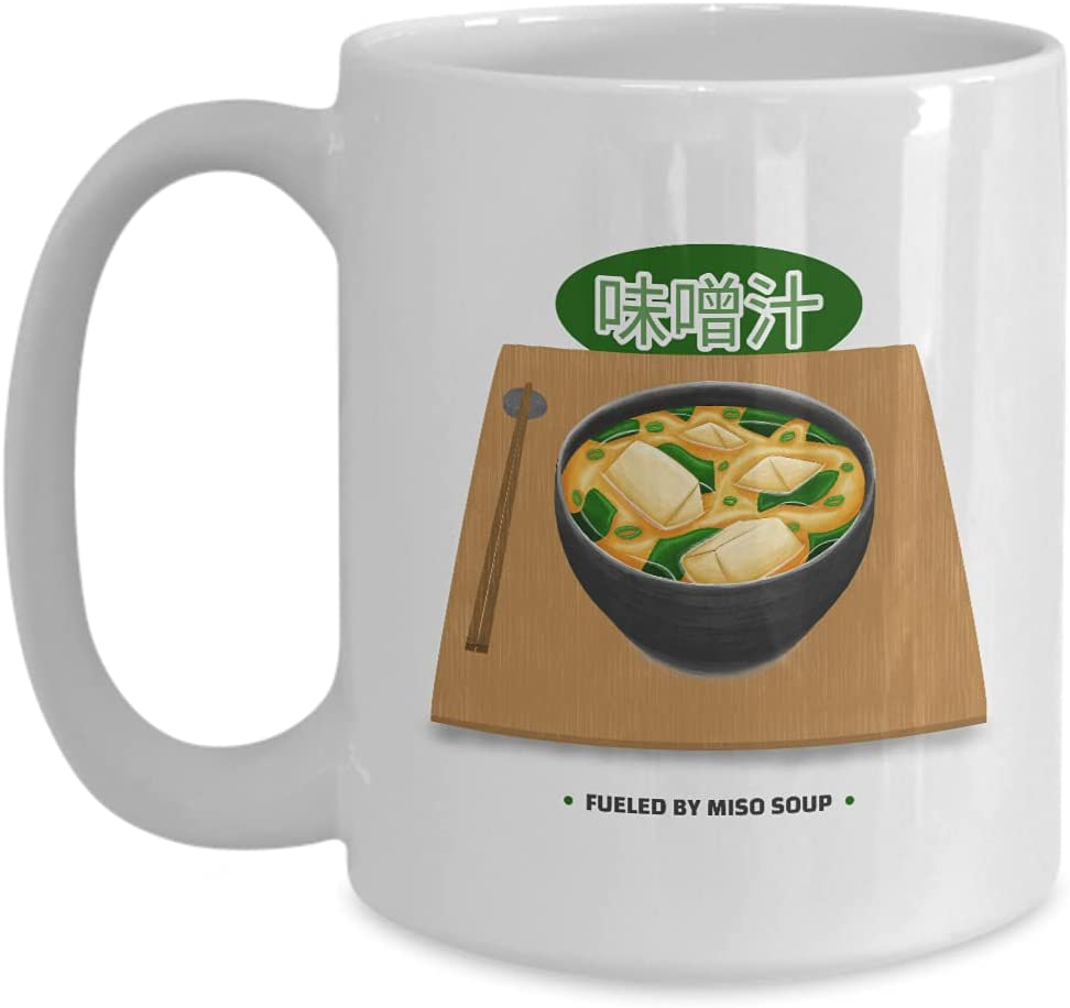 Mug Fueled By Miso Soup Gift For Japanese Dish Lover Japan Food Asian Fan Coffee Tea Cup Large 15 Oz