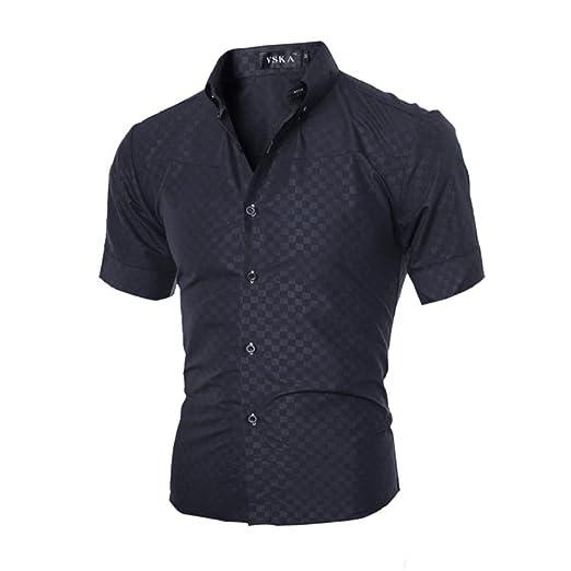 cbc179fff292 GONKOMA Men's Plaid Short Sleeve Dress Shirts Slim Fit Tops Blouse Shirts  (S, Black