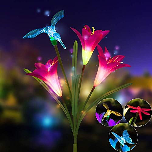 - SAYEI Lily Flower Solar Powered Garden Stake Light Multi-Color Change LED Bulb with Artificial Butterfly Bird Color Purple Flower Decoration Creative Romantic Gadern Patio Outdoor Waterproof Lamp