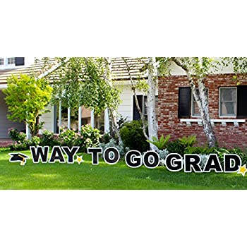 outdoor yard sign announcement individual letters measure 18 inches in height and come with easy to install stakes perfect for any recent graduate