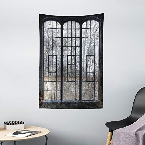 """Lunarable Industrial Tapestry, Old Large Window with Broken Panes Deserted Hall Forest Trees Winter, Wall Hanging for Bedroom Living Room Dorm Decor, 40"""" X 60"""", Green White"""
