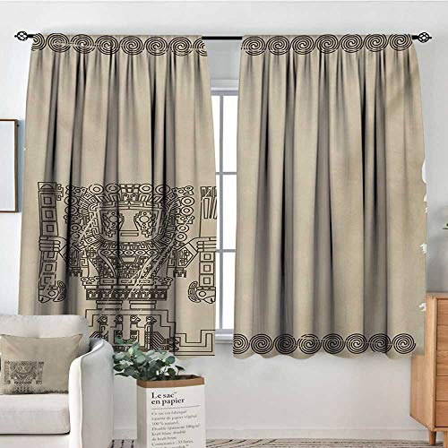 Native American Custom Curtains Mayan and Inca Tribal Symbols Superstition Primitive Relic Archeology Thermal Blackout Curtains 72