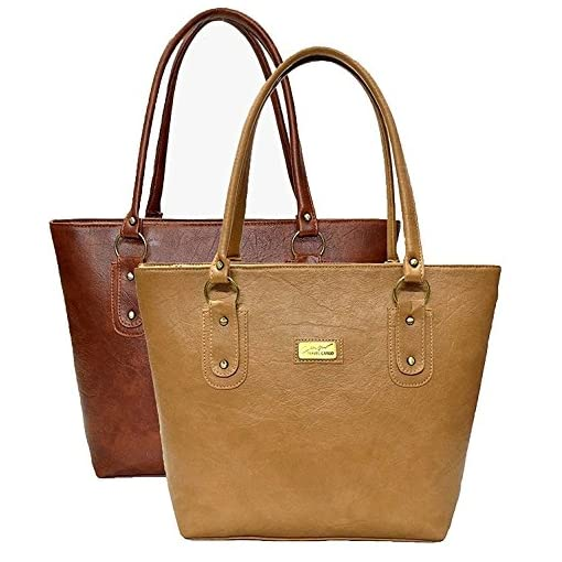 Stalkers Combo Of 2 Pu Leather Ladies Handbags - Brown (Skr-New-Cmb-1)