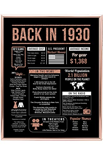 Rose Gold 90th Birthday Back in 1930 Trivia Poster