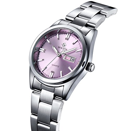 WWOOR Women Fashion Pink Dial Stainless Steel Strap Watch Casual Business Waterproof Quartz Watches-Pink (Pink Stainless Dial)