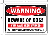 """Beware of Dogs Sign, Large 10x7"""" Aluminum, for"""