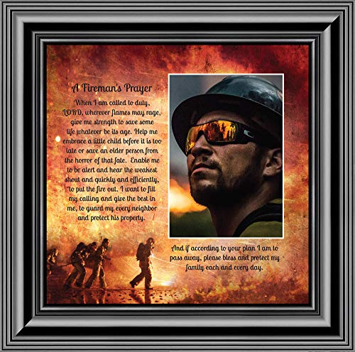 Firemans Prayer, Personalized Picture Frame for Firefighter Gifts, 10X10 6348B
