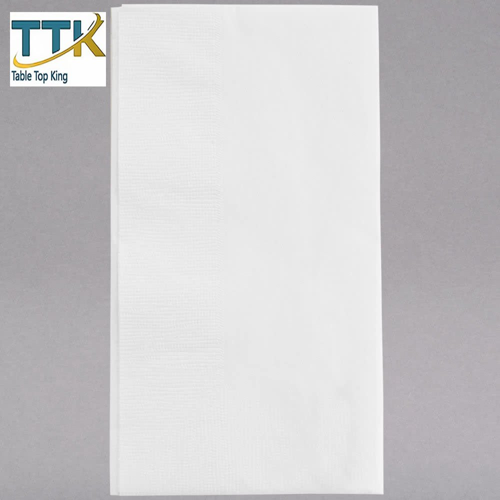 15'' x 16 3/4'' White 1-Ply Customizable Dinner Napkin - 3000/Case by TableTop king