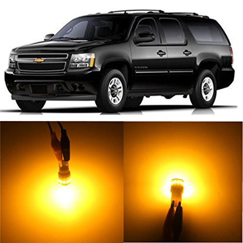 Alla Lighting 2pcs Super Bright amber yellow 194 2825 PC195 LED Bulbs Front Rear Side Marker Lights Replacement for 2000~2014 Chevrolet Chevy Suburban/Suburban 1500/Suburban 2500/Tahoe