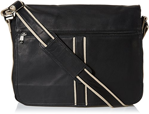 Piel Flap Small Leather (Piel Leather Four-Section Urban Messenger, Black, One Size)