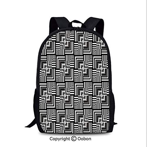 Men's Leisure Backpack, Geometric Op Art Pattern Unusual Checked Optical Illusion Effect, School Bag :Suitable for Men and Women, School, Travel, Daily use, etc.Black White
