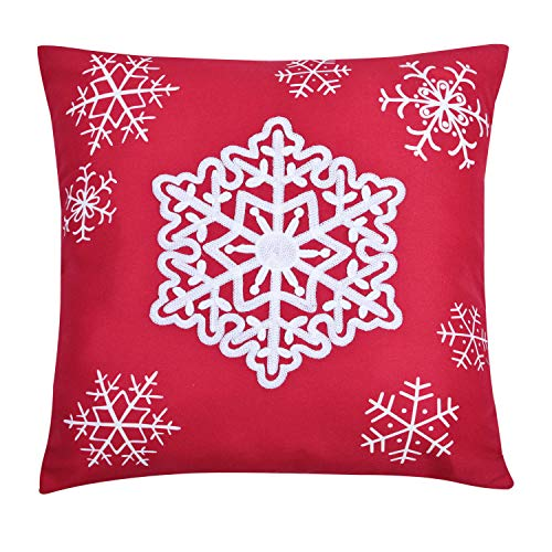 YINFUNG Snowflake Pillow Covers 18x18 Red Throw Pillow Covers Decorative Snow Accent Embroidered Couch Cushion Cover Girls Bedroom Sofa Holiday Decor Christmas Winter Toss Pillow Cover 1 - Winter Decor Christmas