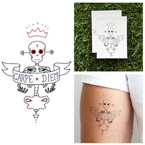 Tattify Skeleton Temporary Tattoo - Never Too Late (Set of 2) - Other Styles Available - Fashionable Temporary Tattoos ()