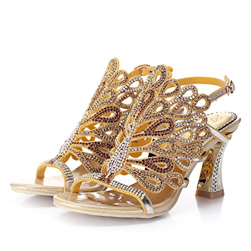 Unicrystal Women's Rhinestone Peacock Patterned Handmade Sandals with Chunky Heel Gold 8 M US ()