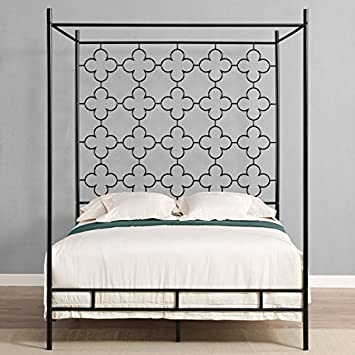 metal canopy bed frame full sized adult kids princess bedroom furniture black wrought iron style - Iron Canopy Bed Frame