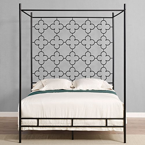Metal Canopy Bed Frame Full Sized Adult Kids Princess Bedroom Furniture * Black Wrought Iron Style Vintage Antique Look * Hang Shear Curtains or Mosquito Nets * Bedding Pillow Not ()