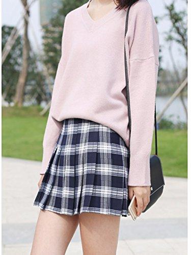 2851a438d840 ... Cheerlife Herbst Winter Kariert Rock Mädchen Damen Kurzer Faltenrock  Minirock Schuluniform Rock Cosplay Skirt Weiß lNc6tn5 ...