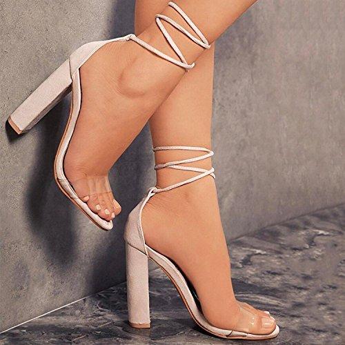 Minetom Sandalen Damen Riemchen Sandaletten High Heels 10 cm Party Blockabsatz Shoes Elegante Abendschuhe Übergröße Mode Schuhe Sommer Nackt