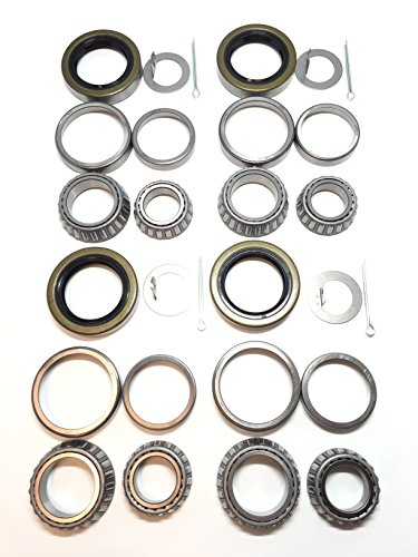 (Set of 4) WPS 3500# Trailer Tandem Axle Bearing Kits L68149 L44649 Grease Seal 10-19 I.D. 1.719'' for #84 Spindle (3500 Bearing Trailer Kit)