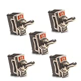 12V Metal Toggle Switches (5 Pack) for Racing Car, Boat and Truck — 20A Heavy-Duty SPST 2-Pin ON/OFF