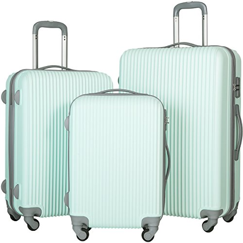 Merax Newest 3 Piece Luggage Suitcase Spinner Set ABS Material (Light Blue)